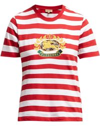 Burberry - Crest Embroidered Cotton T Shirt - Lyst