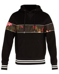 Alexander McQueen - Floral-panel Hooded Neoprene Sweatshirt - Lyst