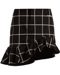 Marques'Almeida - Checked Ruffled Hem Cotton Blend Mini Skirt - Lyst