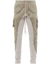 Greg Lauren 50/50 Army Panel Cotton Twill Track Pants - Gray