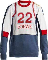 Loewe - Logo Print Varsity Sweatshirt - Lyst