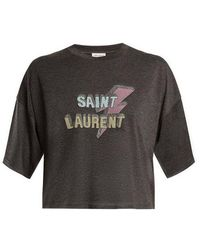 Saint Laurent - Lightning-bolt And Logo-print Cropped T-shirt - Lyst