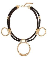 Chloé - Sawyer Leather, Bead And Brass Hoop Necklace - Lyst