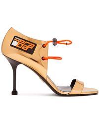 Prada - Drawcord Patent Leather Sandals - Lyst