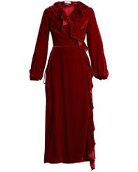 Racil - Wilt Ruffle Trimmed Velvet Wrap Dress - Lyst