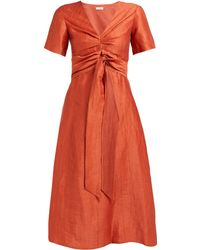 MASSCOB Regina Tie Waist Linen Blend Dress - Orange