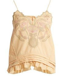 Chloé - Embroidered Cotton Voile Camisole Top - Lyst