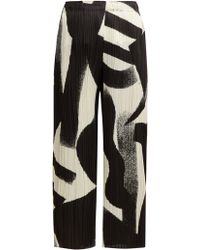 Pleats Please Issey Miyake - Pleated Cropped Wide Leg Trousers - Lyst