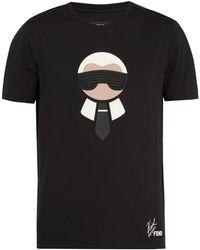 Fendi - Karlito Logo-appliqué Cotton T-shirt - Lyst