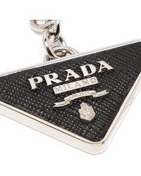 Prada - Porte-clés en métal à plaque logo - Lyst