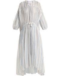 LOVE Binetti - Drawstring Waist Striped Cotton Dress - Lyst