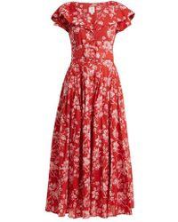 Gül Hürgel - Belted Floral Print Cotton Dress - Lyst