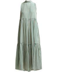 Asceno - Striped Neck Tie Tiered Silk Midi Dress - Lyst