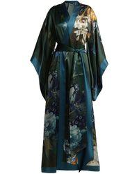 Carine Gilson - Floral-print Silk-satin Kimono Robe - Lyst