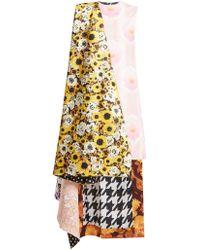 Richard Quinn - Asymmetric Floral Print Panelled Satin Dress - Lyst