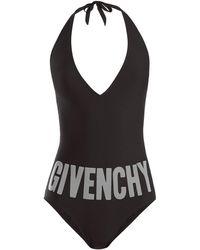 Givenchy | Deep V-neck Halterneck Swimsuit | Lyst
