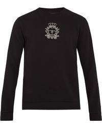 Dolce & Gabbana - Crest-appliqué Cotton-blend Sweatshirt - Lyst