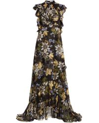 Erdem - Riva Passion Flower Print Ruffle Trimmed Silk Gown - Lyst