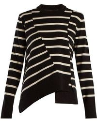 Proenza Schouler - Panelled Crew-neck Striped Wool-blend Sweater - Lyst