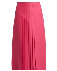 Valentino - Pleated Silk And Wool Blend Skirt - Lyst