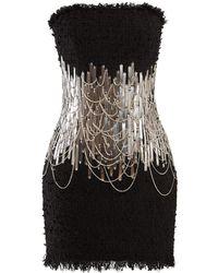 c8c2f2e1 Balmain - Chain And Metal Embellished Tweed Mini Dress - Lyst