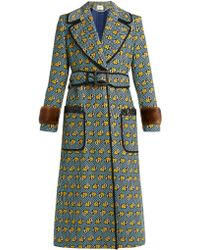 Fendi - Heart Print Fur Trimmed Cotton Blend Coat - Lyst
