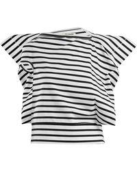 Junya Watanabe   Striped Asymmetric Cotton-jersey T-shirt   Lyst