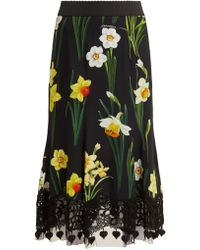 Dolce & Gabbana - Printed Cady Skirt - Lyst
