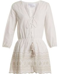 Athena Procopiou - Sunday Morning Lace Up Cotton Playsuit - Lyst