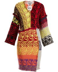 MATTY BOVAN - Patchwork V Neck Mini Dress - Lyst