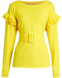 MUVEIL - Ruffle-trimmed Cotton And Wool-blend Sweater - Lyst