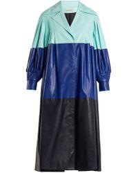 Vika Gazinskaya - Pleated Colour-block Faux-leather Coat - Lyst