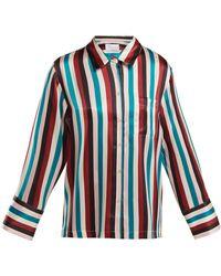 Asceno - Striped Silk-satin Pajama Shirt - Lyst