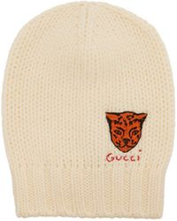 36be9a442e851 Lyst - Gucci Tiger Embroidered Knit Beanie in White for Men