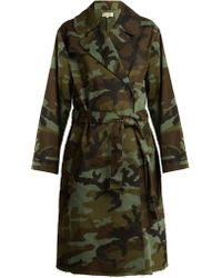 Nili Lotan Farrow Camouflage Print Cotton Blend Trench Coat