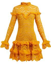 Jonathan Simkhai - Ruffled Floral Lace Mini Dress - Lyst