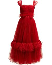 Dolce & Gabbana - Ruffle Trimmed Tulle & Feather Gown - Lyst