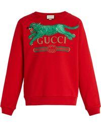 093e7841aae Gucci - Jumping Tiger Appliqué Crew Neck Cotton Sweatshirt - Lyst