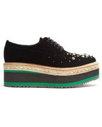 Prada - Crystal-embellished Velvet Platform Lace-up Shoes - Lyst