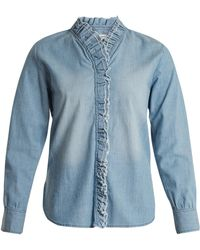 Étoile Isabel Marant | Lawendy Ruffle-trimmed Stretch-cotton Shirt | Lyst