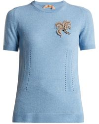 N°21 - Crystal Appliqué Cashmere Sweater - Lyst