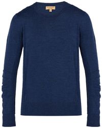 Burberry - Check Panel Merino Wool Sweater - Lyst
