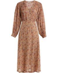 MASSCOB - Blaise Floral Print Silk Midi Dress - Lyst