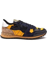 Valentino - Rockrunner Camouflage Suede And Leather Trainers - Lyst