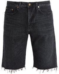 Saint Laurent - Frayed-hem Straight-leg Denim Shorts - Lyst