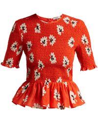 Ganni - Linaria Floral Print Cotton Blend Top - Lyst