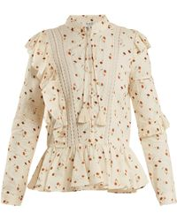 Sea - Margaux Floral-print Ruffle-trimmed Cotton Blouse - Lyst