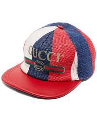 b5bec8554c35 Lyst - Gucci Leather Linen Baseball Hat in Gray for Men