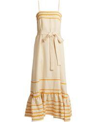 Lisa Marie Fernandez - Ric Rac Trimmed Linen Slip Dress - Lyst