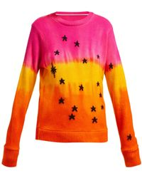 The Elder Statesman Star Jacquard Tie Dye Cashmere Sweater